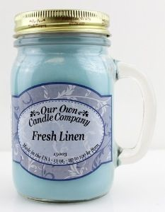 """Mason jar OUR OWN CANDLE COMPANY """"FRESH LINEN"""""""