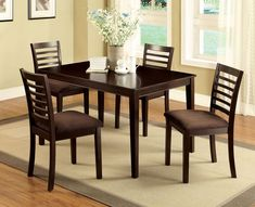 5 pc eaton i espresso wood finish dining table set. Armless ladder back chairs accent this square dining table finished in espresso. A perfect addition to a small dining area or kitchen. Table measures: x x H. Chairs measure x Dining Furniture Sets, Dining Room Sets, Dining Room Table, Table And Chairs, A Table, Dining Chairs, Kitchen Tables, Living Furniture, Furniture Stores