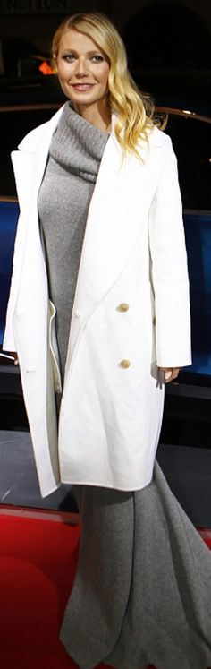 4afa0b9edfa2 Who made Gwyneth Paltrow s gray cashmere gown and white coat  Basic  Outfits