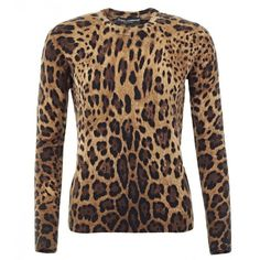 Dolce & Gabbana Beige & Brown Cashmere Leopard Print Sweater ($1,355) ❤ liked on Polyvore featuring tops, sweaters, dolce&gabbana, brown tops, dolce gabbana sweaters, brown sweater and long sleeve sweaters
