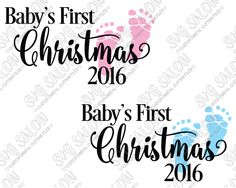 Baby's First Christmas Custom DIY Vinyl Ornament Decal Cutting File in SVG, EPS, DXF, JPG, and PNG Format