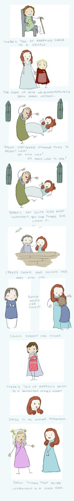 """Sansa's Dating Woes- haha, this is priceless! """"Not sure what happened, but she thinks she liked it..."""""""