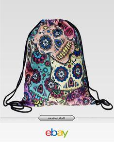 Mexican Skull 3D Print Women Vintage Backpack Outdoor Sports Drawstring  Backpack Men s Backpack, Drawstring Backpack 345db2589d