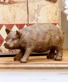 Look at this #zulilyfind! Antiqued Pig Figurine #zulilyfinds