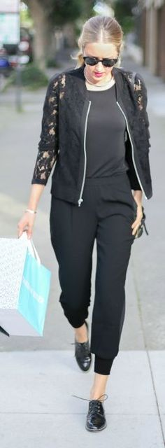 Black Lace Sleeve Bomber Jacket #Fashionistas
