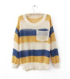 Colorful Rainbow Stripes Poket Sweater$38.00