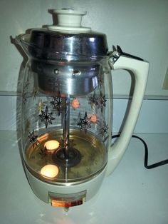 Vintage Proctor Silex Coffee Percolator Star Burst Glass Pot Lighted starburst