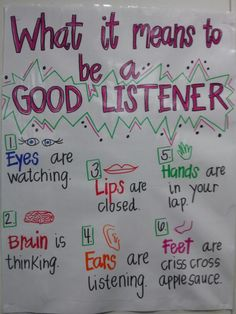 Good Listeners Anchor Chart is part of Classroom anchor charts - Classroom Behavior, Classroom Rules, Kindergarten Classroom, School Classroom, Classroom Management, Behavior Management, Future Classroom, Classroom Ideas, Preschool Learning