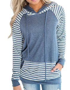 Naier Striped Women Long Sleeve Hoodie for Teen Girl Jeans Leggings Product Name:women long sleeve Hoodie Product materials:10% polyester 90% cotton Product color: Blue,Gray Product features: 1,Striped color splicing 2,Kangaroo pocket Product size:(This size is different from the Amazon size.... http://darrenblogs.com/us/2018/01/11/naier-striped-womans-long-sleeve-hoodie-sweater-for-teen-girls-jeans-leggings/