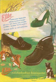 Vintage Ads, Vintage Posters, Mid Heel Shoes, 1950s Fashion, Finland, Nostalgia, Childhood, Illustration, Sarcastic Humor