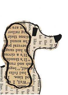 spaniel dog paste art collage piece