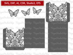Wedding Card Envelope 4x6 - SVG, DXF, ai, CRD, eps, Studio3 - Commercial - Butterfly - Laser Paper Cut - Silhouette Cameo - Instant Download by TanyaStudioShop on Etsy https://www.etsy.com/listing/493913077/wedding-card-envelope-4x6-svg-dxf-ai-crd