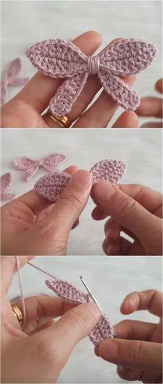 Crochet Simple Bow In 10 Minutes - We Love Crochet - Knitting is as easy as . Crochet Simple Bow In 10 Minutes – We Love Crochet – knitting is as easy as 3 Knitting bo Crochet Simple, Love Crochet, Crochet Gifts, Crochet Flowers, Crochet Bow Pattern, Crochet Motifs, Crochet Patterns, Simple Knitting Patterns, Tutorial Crochet