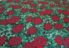 Vintage Christmas Tablecloth Poinsettia by VintageLinenGallery