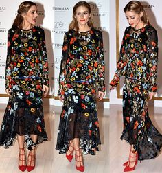 "Olivia Palermo Launches Her Makeup Collection in Preen Floral Dress and Christian Louboutin ""Toerless Muse"" Pumps"