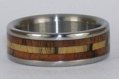 Titanium and Hawaiian Koa Wood Wedding Ring