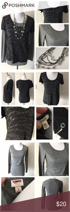 💕Outfit Bundle: Sequin J.Crew Tee with necklace Great three piece bundle! Featured is a charcoal grey/heather black sequin embellished tee from J.Crew, size Medium, gently used condition. It's paired with a long sleeve tee from Target, great used condition, and a long layered necklace from Ann Taylor!                             ***ALL outfit bundles are FIRM on price*** J. Crew Tops Tees - Long Sleeve