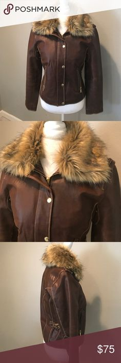 a.n.a Leather and Faux Fur Moto Jacket a.n.a brown genuine leather moto jacket in size Small. Features buckle details on the waist and a removable Faux fur collar. Some wear under the sleeves which is to be expected. Still in excellent condition!   ......................... 🚫 - No Trades! 🚭 - listings from a non-smoking home 📬 - fast shipping 💌 - Feel free to make an offer!  💯 - items as described, feel free to ask questions  🔍 - search my closet for other great listings! 🛍 - Happy…