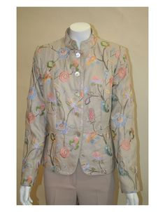 Pure linen embroidered jacket in the White Label collection of Rofa Fashions. Irish Fashion, Linen Jackets, Embroidered Jacket, Mother Of Pearl Buttons, Fashion Group, Jacket Style, Cotton Linen, Label, Shirt Dress