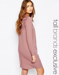 Light pink lace insert swing shirt dress