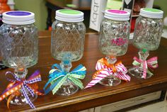 "Clemson Girl: Razzberry Fizz ""Not So Redneck"" Wine Glass Giveaway Crafts With Glass Jars, Mason Jar Crafts, Bottle Crafts, Cork Crafts, Vinyl Crafts, Homemade Gifts, Diy Gifts, Party Gifts, Redneck Wine"