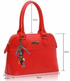 Ladiess Women Red Designer Tote Shoulder Bag Patent Shopper Handbag: Amazon.co.uk: Shoes & Bags