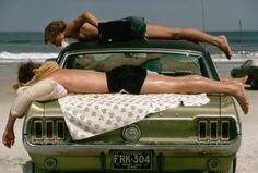 vintage everyday: Three young men sunbathe on a green Ford Mustang on Daytona Beach, 1973 Daytona Beach, Sleepy Jones, Blue Lagoon, Go Outside, Who What Wear, Spring Break, Strand, Vintage Photos, Photography