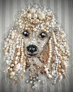 Jewelry Frames, Jewelry Tree, Jewelry Ideas, Animal Art Projects, Mosaic Animals, Vintage Jewelry Crafts, Button Art, Dog Portraits, Animal Jewelry