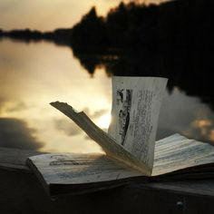 Sunset, boat, book