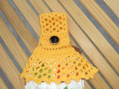Sunflower yellow towel topper by Crocheting_in_Georgia, via Flickr