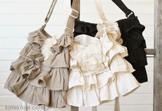 Ruffle Bags with roses from Lori Avery - check out her website!!  --- I like that the flower is a removable pin.