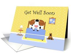 Cow In Bed, Teddy Bear, Daisies, Get Well Soon Paper Greeting Card (1061297)