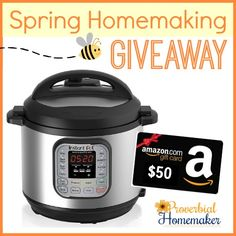 SWEET! The InstantPot pressure cooker has been on my wish list, and Amazon gift cards are my love langue. :) Awesome spring homemaking giveaway!