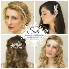 Bridal hair accessories sale, take an additional 20% off through March 31st.