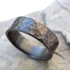 Structured Black Silver Ring, Hammered Men's Ring, Alternative Wedding Band by Claudia Fernandes
