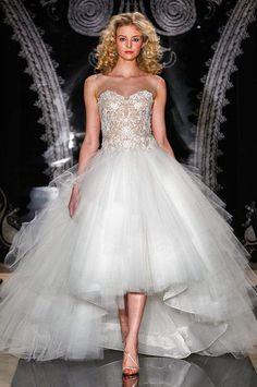 Reem Acra high low tulle wedding dress