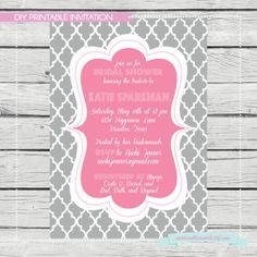 Quatrefoil Bridal Shower Invitation  Digital File by SouthernSwish, $15.00
