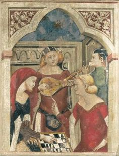 Italian School-Bergamo, Partita a scacchi, is a painted fresco laid on canvas from the second half of the 14th century. Size 26.4 x 20.1 in. / 67 x 51 cm.