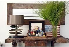 propeller lamp, work bench table, barn wood mirror