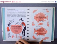 ON SALE 60s Betty Crocker's Outdoor Cook Book 1960s cookbook vintage kitchen food recipes barbecue BBQ picnic mid-century illustration by To on Etsy, $18.70