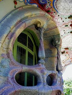 "Amazing Gaudi Architecture  by CK-EyeWays, via Flickr ---- ""This is the window and balcony of a townhouse that is still lived in in downtown Barcelona."""