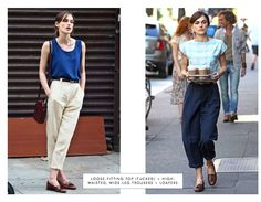 loose, tucked top + high-waisted, wide-leg trousers + loafers - I LOOOOVE THIS OUTFIT SHAPE!