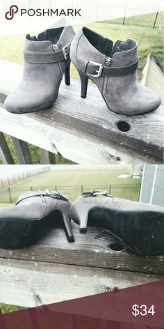Fergalicous by Fergie gray booties!! 4 1/2 inch gray booties.  Has side zipper. Only worn once In excellent condition! No scratches or scrapes. I would keep these but my foot has grown since I was pregnant. Shoes Ankle Boots & Booties