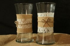 Burlap & Lace Inverse Twin Vases by BeHandmaiden on Etsy, $17.00  Burlap, Lace, wedding vase, lace vase, wedding centerpiece, wedding decoration, wedding burlap lace, burlap wedding, lace wedding, pearl, pearl candles, pearl wedding, jute twine, burlap twine, bows