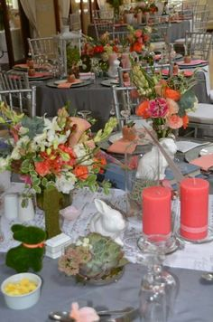 Guest table nr1 - bunnies, coral & whimsical Bunnies, Our Wedding, Whimsical, Coral, Table Decorations, Home Decor, Decoration Home, Rabbits, Interior Design