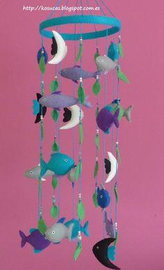 Kosucas : Móvil de fieltro con peces.