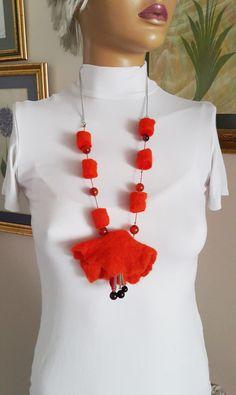 Eco friendly necklace/Felt jewelry/Fiber Felt Gem Stone by BNwamp