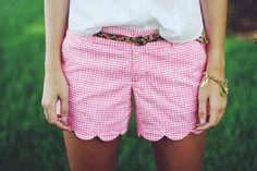 Gingham pink shorts.
