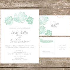 Watercolor Succulent Wedding Invitation Suite