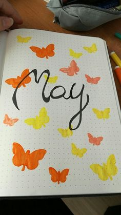 #may #butterfly #myfirstpage #orange #yellow #bujo #bulletjournal  First Page